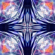 Meditative Prints - Blue Cross Print by Ann Croon