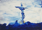 Crucifix Paintings - Blue Cross by Carl Lundgren