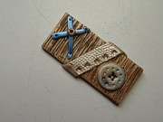 Paint Jewelry - Blue Cross Steampunk Pin 4 by Megan Brandl