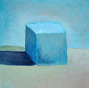 Boxes Painting Originals - Blue Cube Still Life by Michelle Calkins