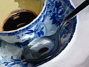 Coffee Paintings - Blue Cup by Patti Siehien