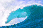 Surf Art Digital Art Posters - Blue Curl Poster by Paul Topp