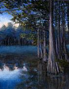 Swamp Pastels Posters - Blue Cypress Morning Poster by Susan Jenkins