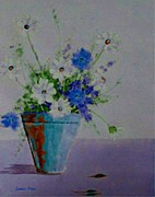 Aquas Prints - Blue Daisies Print by Jamie Frier
