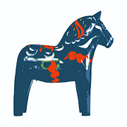 Sweden  Digital Art Prints - Blue Dala Horse Print by Marianne Beukema