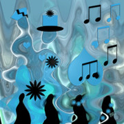 Note Digital Art - Blue Dance by Ben and Raisa Gertsberg