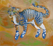 Pajamas Prints - Blue Dance Cat Print by Vanessa Hadady BFA MA