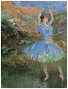 Ballet Art Prints - Blue Dancer Print by Edgar Degas