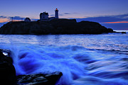 Nubble Lighthouse Posters - Blue Dawn Poster by Rick Berk