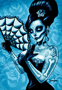 Day Of The Dead Framed Prints - Blue Death Art Print Framed Print by Screaming Demons