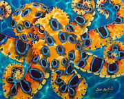 Sealife Tapestries - Textiles Metal Prints - Blue Death Metal Print by Daniel Jean-Baptiste