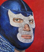Wrestling Painting Originals - Blue Demon Jr by Nancy Almazan