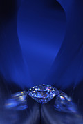 Background Jewelry Prints - Blue Diamond In Blue Light Print by Atiketta Sangasaeng