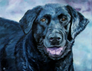 Dogs Paintings - Blue Dog by Diane Kraudelt