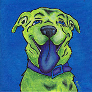 Funny Pet Paintings - Blue Dog by Robin Wiesneth