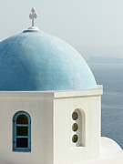 Oia Posters - Blue Domed Greek Church Poster by Jennifer Squires