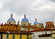 Domes Prints - Blue Domes of Cuenca Print by Al Bourassa