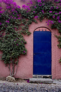 Colorful Southwest Framed Prints - Blue Door and Bougainvilleas Framed Print by Carol Leigh