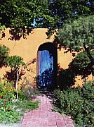 Adobe Framed Prints - Blue door at Old Mesilla Framed Print by Kurt Van Wagner