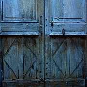 Rustic Photos - Blue door by Bernard Jaubert