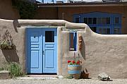 Taos New Mexico Framed Prints - Blue Door in Taos Framed Print by Jerry McElroy