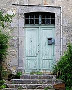 French Door Prints - Blue Door in Vianne France Print by Marion McCristall