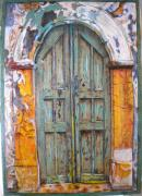 Entrance Door Pyrography - Blue Door  by Katerina Tsibouraki