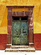 San Miguel De Allende Framed Prints - Blue Door Framed Print by Olden Mexico