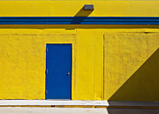 Architectural Detail Framed Prints - Blue Door on a Yellow Building Framed Print by Paul Edmondson