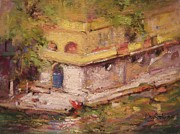 Villa Paintings - Blue door to the water by R W Goetting