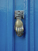 Blue Door With Brass Hand Knocker, France Print by Jennifer Steen Booher