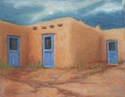 Taos Painting Posters - Blue Doors in Taos Poster by Jerry McElroy