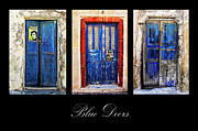 Traditional Doors Posters - Blue Doors Of Santorini Poster by Meirion Matthias