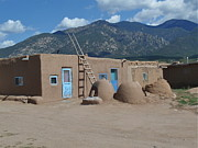 Pueblo De Taos Acrylic Prints - Blue Doors with Mountains Acrylic Print by Aimee Mouw