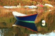 Reflection On Calm Pond Posters - Blue Dory and boats on the shore Poster by Roupen  Baker
