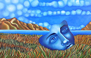 Angela Waye Prints - Blue Dream Face on Lake Print by Angela Waye