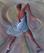 Afro-american Paintings - Blue Dress by Ikahl Beckford