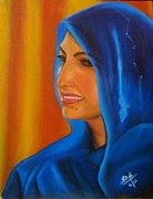 Hijab Paintings - Blue dupatta by Sulzhan Bali