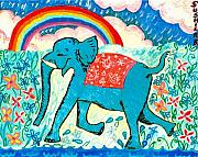 Sue Burgess Ceramics Posters - Blue Elephant and Rainbow Poster by Sushila Burgess