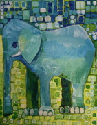 Zoo Painting Prints - Blue Elephant Print by Donna Howard
