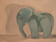 Alone Pastels - Blue Elephant  by Duy Tran