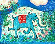 Happy Ceramics Prints - Blue elephant facing right Print by Sushila Burgess