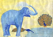 Squirting Water Prints - Blue Elephant Squirting Water in Progress Print by Sushila Burgess