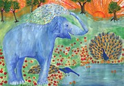 Squirting Water Prints - Blue Elephant Squirting Water Print by Sushila Burgess