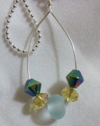 Ball Jewelry - Blue Etched Bead Necklace by Janet  Telander