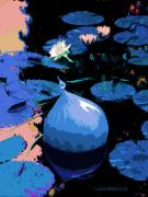 Glass Digital Art Originals - Blue Evening on the Pond by John Lautermilch