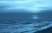 Wave Art Photos - Blue Evening by Sandy Keeton
