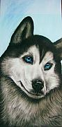 Acrylic Pastels Framed Prints - blue eye Husky  Framed Print by Anastasis  Anastasi