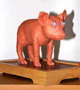 Pink Sculpture Posters - Blue Eye PIGture Poster by Yelena Rubin