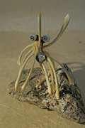 Glass Sculpture Sculpture Prints - Blue Eye Spider Print by Ruth Edward Anderson